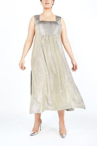 Silver Midi Plus size party dress designer evening clothes
