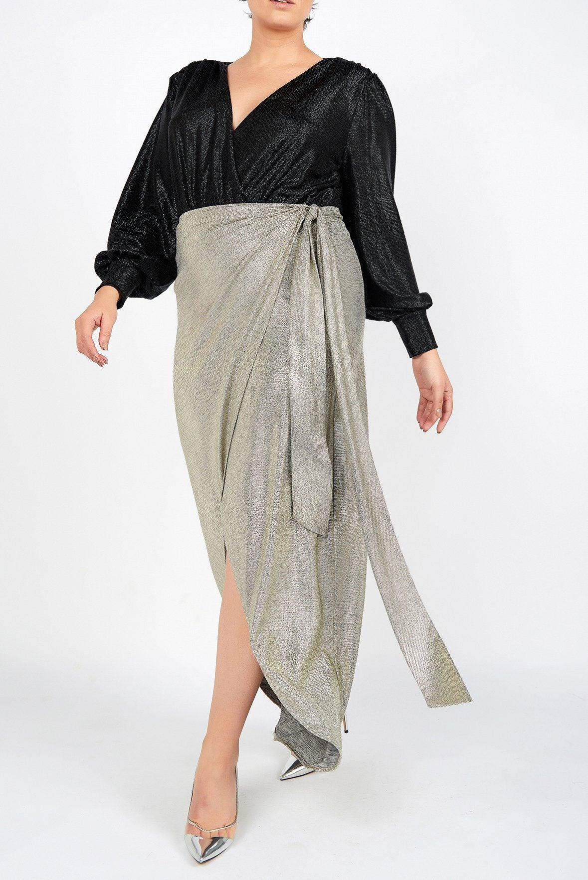 Carrie Silver Evening Sarong Skirt - Maer World