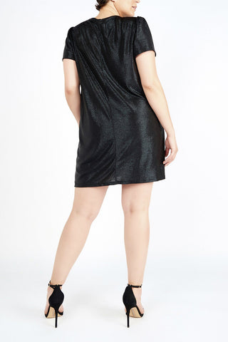 Esha Black Metellic Jersey Mini Dress - Maer World