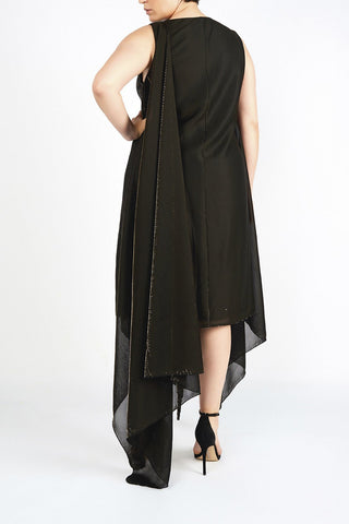 Jessica Black & Gold Metallic Chiffon Jersey Draped Shift Evening Dress - Maer World