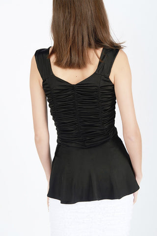 Gina Black Peplum Tank - Maer World