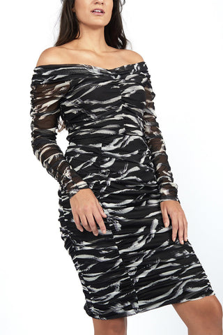 Bianca Zebra Printed Mesh Off-the-Shoulder Top - Maer World