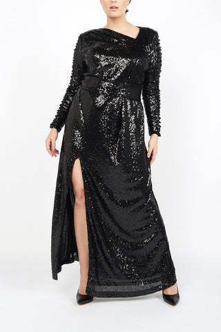 Black Sequin Plus size party dress designer evening clothes