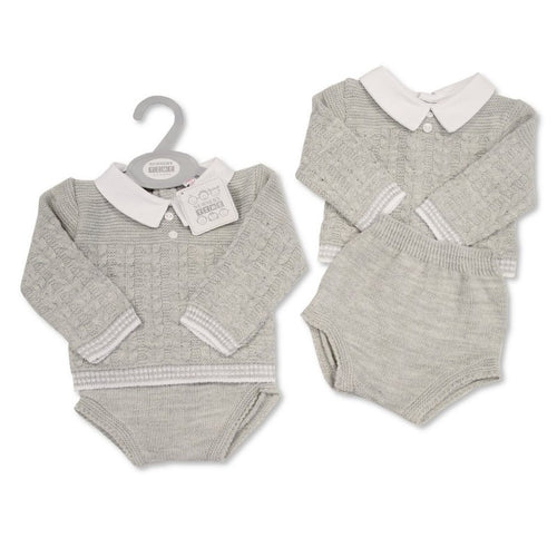 GREY KNIT TWO PIECE SET