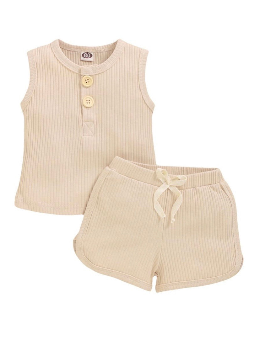 BEIGE RIBBED SET