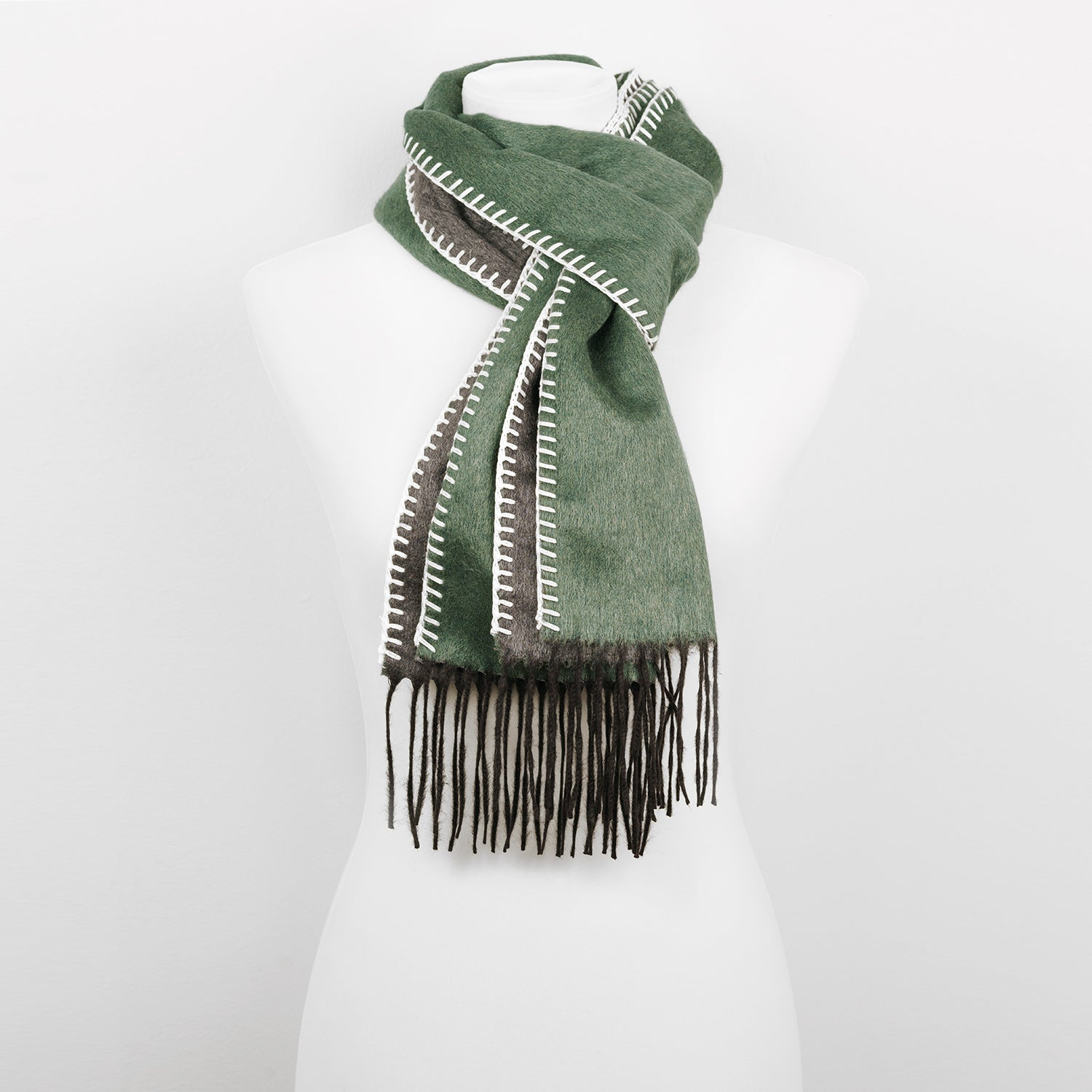 Doria & Dojola Roma Silk-Cashmere Scarf. 51% Silk 49% Cashmere 30 x 170 cm. 100% Made in Italy. Pictured: Olive Green with Grey.