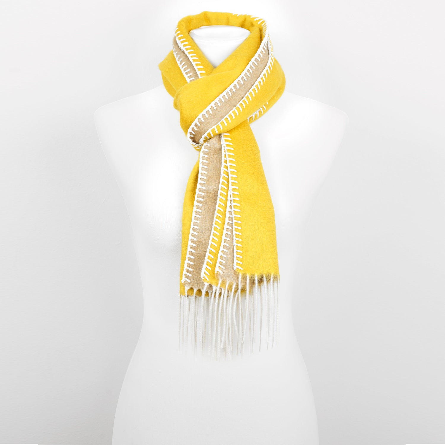 Doria & Dojola Roma Silk-Cashmere Scarf. 51% Silk 49% Cashmere 30 x 170 cm. 100% Made in Italy. Pictured: Yellow with Beige.