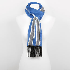 Doria & Dojola Roma Silk-Cashmere Scarf. 51% Silk 49% Cashmere 30 x 170 cm. 100% Made in Italy. Pictured: Blue with Grey.
