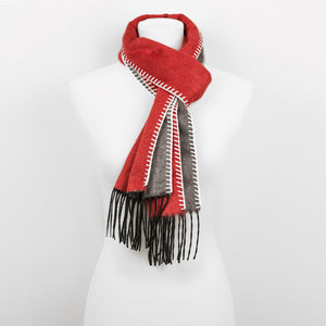 Doria & Dojola Roma Silk-Cashmere Scarf. 51% Silk 49% Cashmere 30 x 170 cm. 100% Made in Italy. Pictured: Red with Grey.