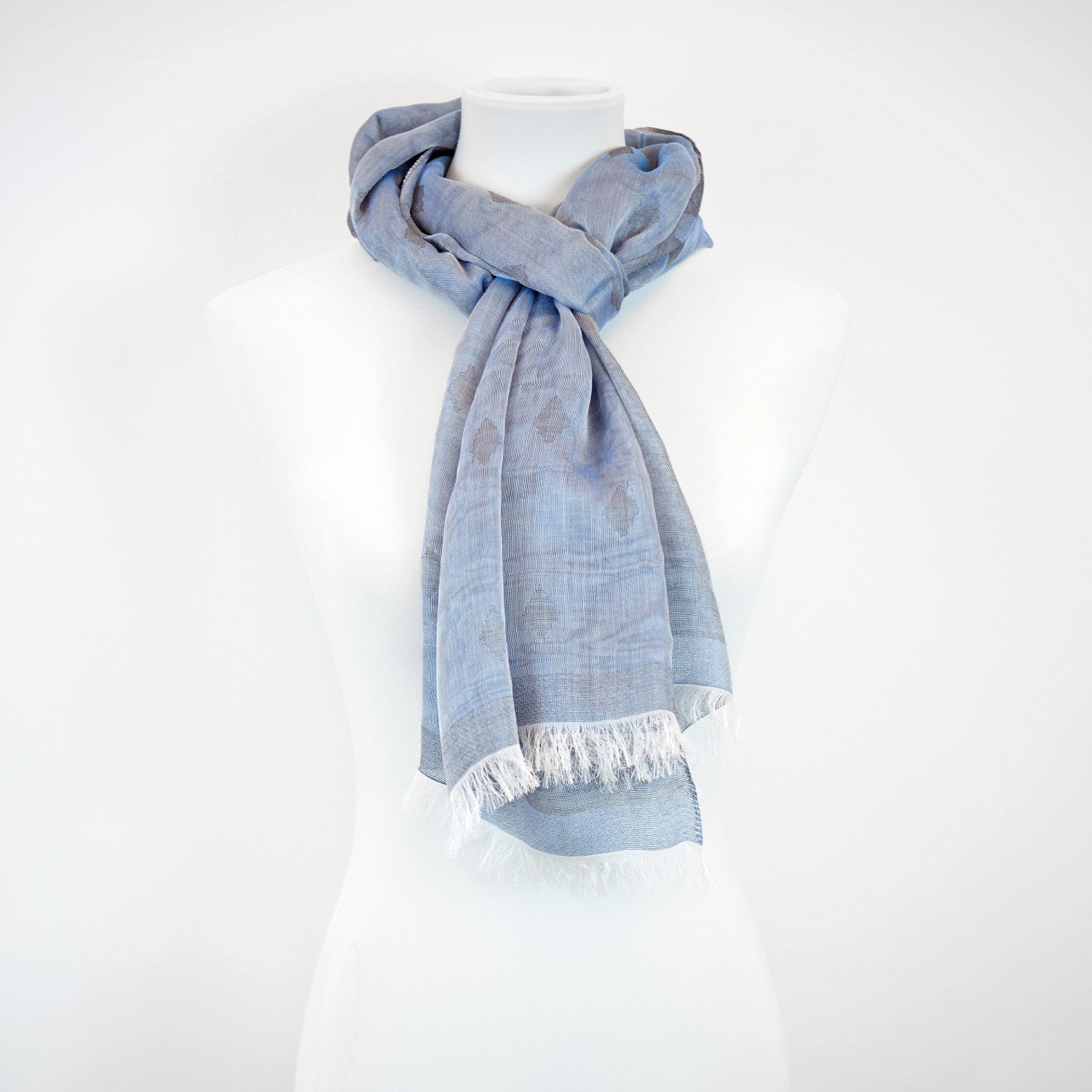 Doria & Dojola Diamonds Cotton blend Scarf. 80% Modal 25% Cotton 15% polyester  50 x 180 cm. 100% Made in Italy. Pictured: Blue Scarf.