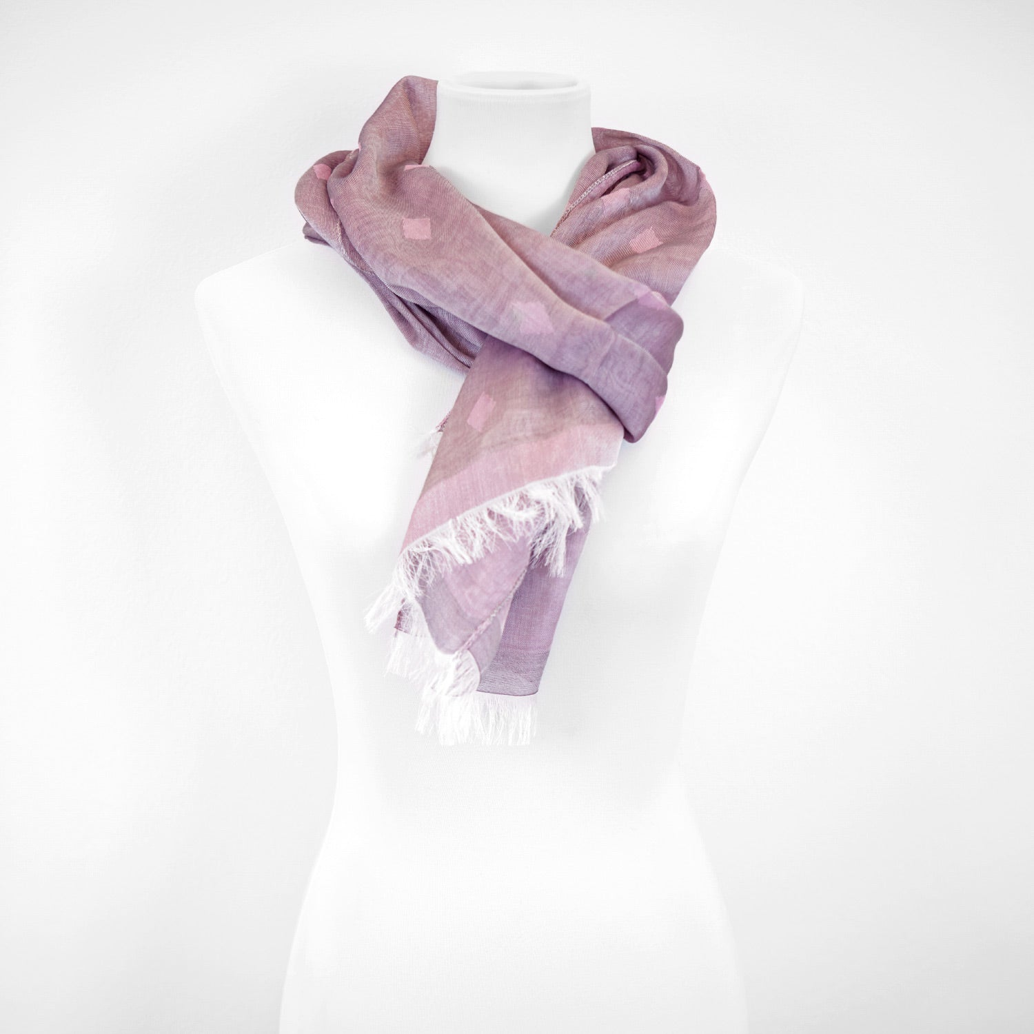 Doria & Dojola Diamonds Cotton blend Scarf. 80% Modal 25% Cotton 15% polyester  50 x 180 cm. 100% Made in Italy. Pictured: Pink scarf.