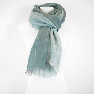 Doria & Dojola Pin Stripes Linen Shawl. 100% Linen 75 cm x 200 cm. Made in Italy. Pictured in Turquoise.