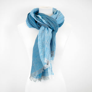 Doria & Dojola Pin Stripes Linen Shawl. 100% Linen 75 cm x 200 cm. Made in Italy. Pictured in Blue.