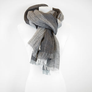 Doria & Dojola Pin Stripes Linen Shawl. 100% Linen 75 cm x 200 cm. Made in Italy. Pictured in Grey.