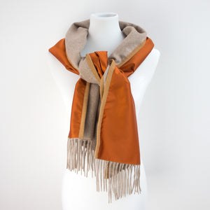 Double-Sided Scarf 100% Cashmere & 100% Polyester with Wool Ribbon 30 x 180 cm The functionality of the scarf is enhanced without sacrificing it´s elegance. This is achieved by combining an exclusive wind and water proof umbrella fabric with premium cashmere. This keeps the user dry, warm and chic, even during unexpected rainfall.  Made in Italy