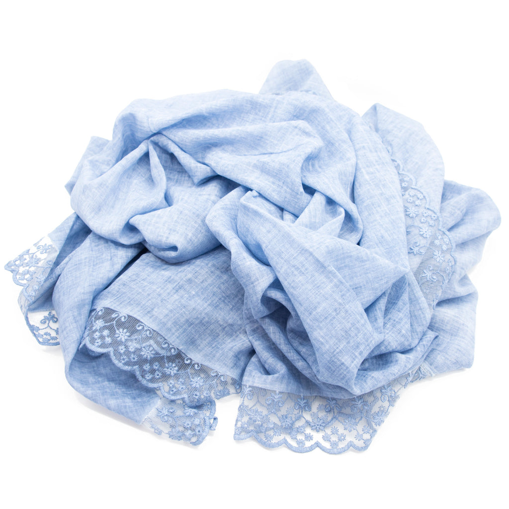Doria & Dojola Floral Lace Cotton Stole. 100% Cotton 75 x 190 cm. Made in Italy. Pictured in Light Blue.