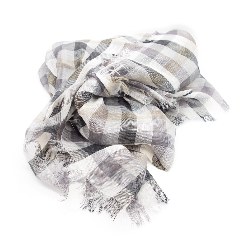 Doria & Dojola Large squares Linen Cotton Scarf. 75% Linen 25% Cotton 55 x 190 cm. Made in Italy.