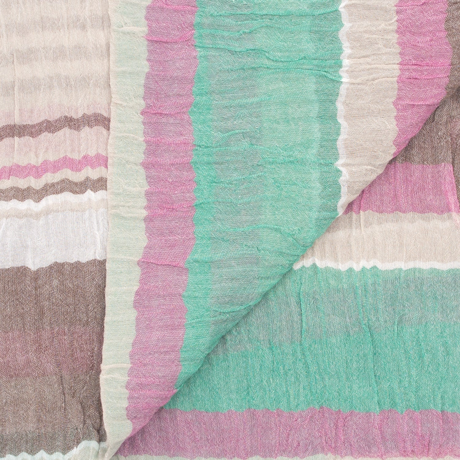 Doria & Dojola Pastel Stripes Cotton-Modal Scarf. 56% Cotton 44% Modal 60 cm x 170 cm. Made in Italy.