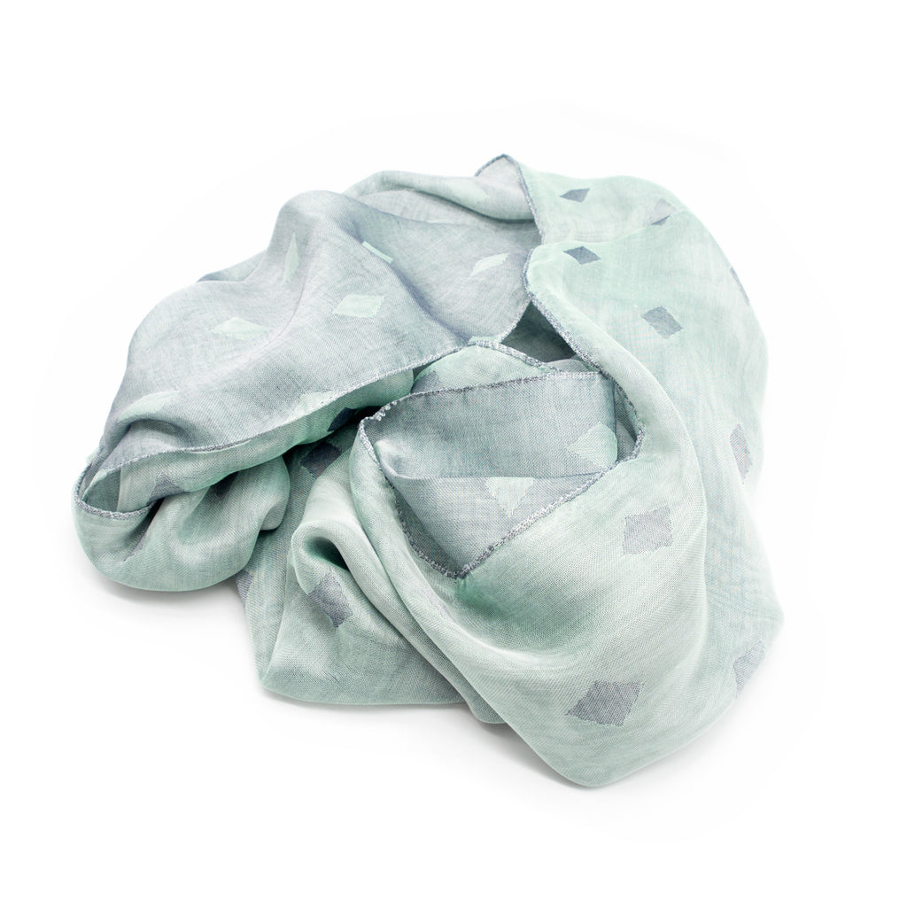 Doria & Dojola Diamonds Cotton blend Scarf. 80% Modal 25% Cotton 15% polyester  50 x 180 cm. 100% Made in Italy. Pictured: Green Scarf.