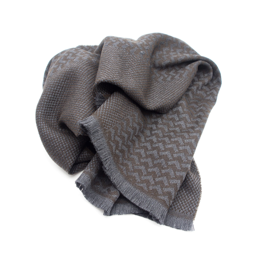 Doria & Dojola Mixed Pattern Cashmere-Wool Scarf. 70% Wool 30% Cashmere  37 x 190 cm. Made in Italy.