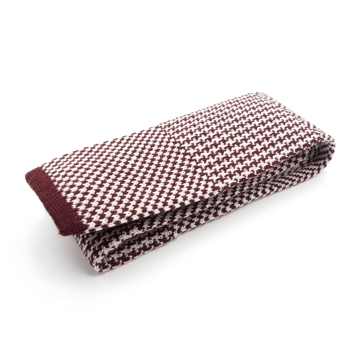 Doria & Dojola Mixed Pattern Wool Tie. 100% Biellese Wool. Made in Italy. Dark Red & Cream.
