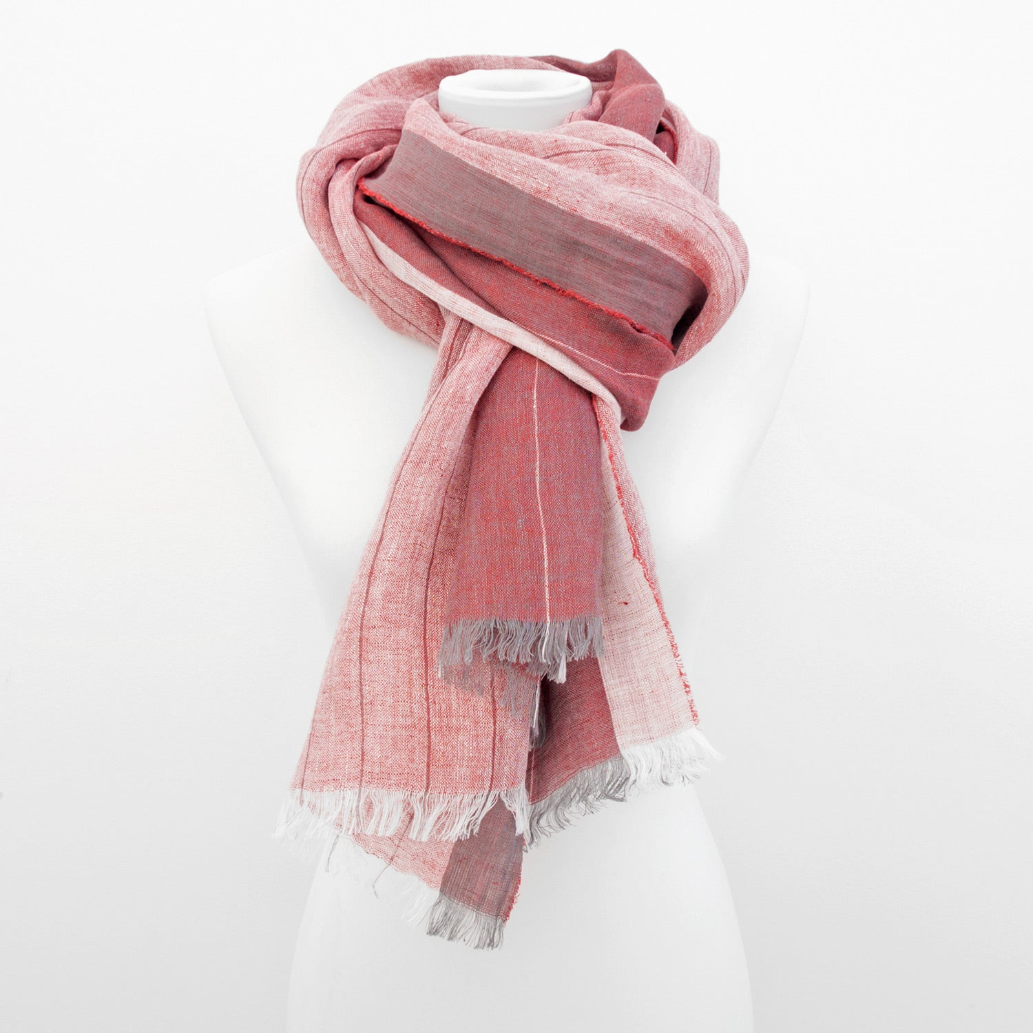 Doria & Dojola Pin Stripes Linen Shawl. 100% Linen 75 cm x 200 cm. Made in Italy. Pictured in Red.