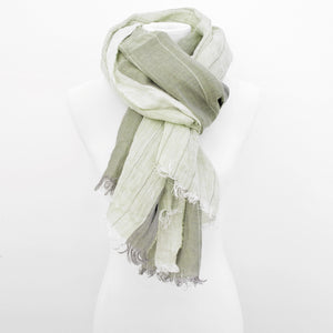 Doria & Dojola Pin Stripes Linen Shawl. 100% Linen 75 cm x 200 cm. Made in Italy. Pictured in Green.