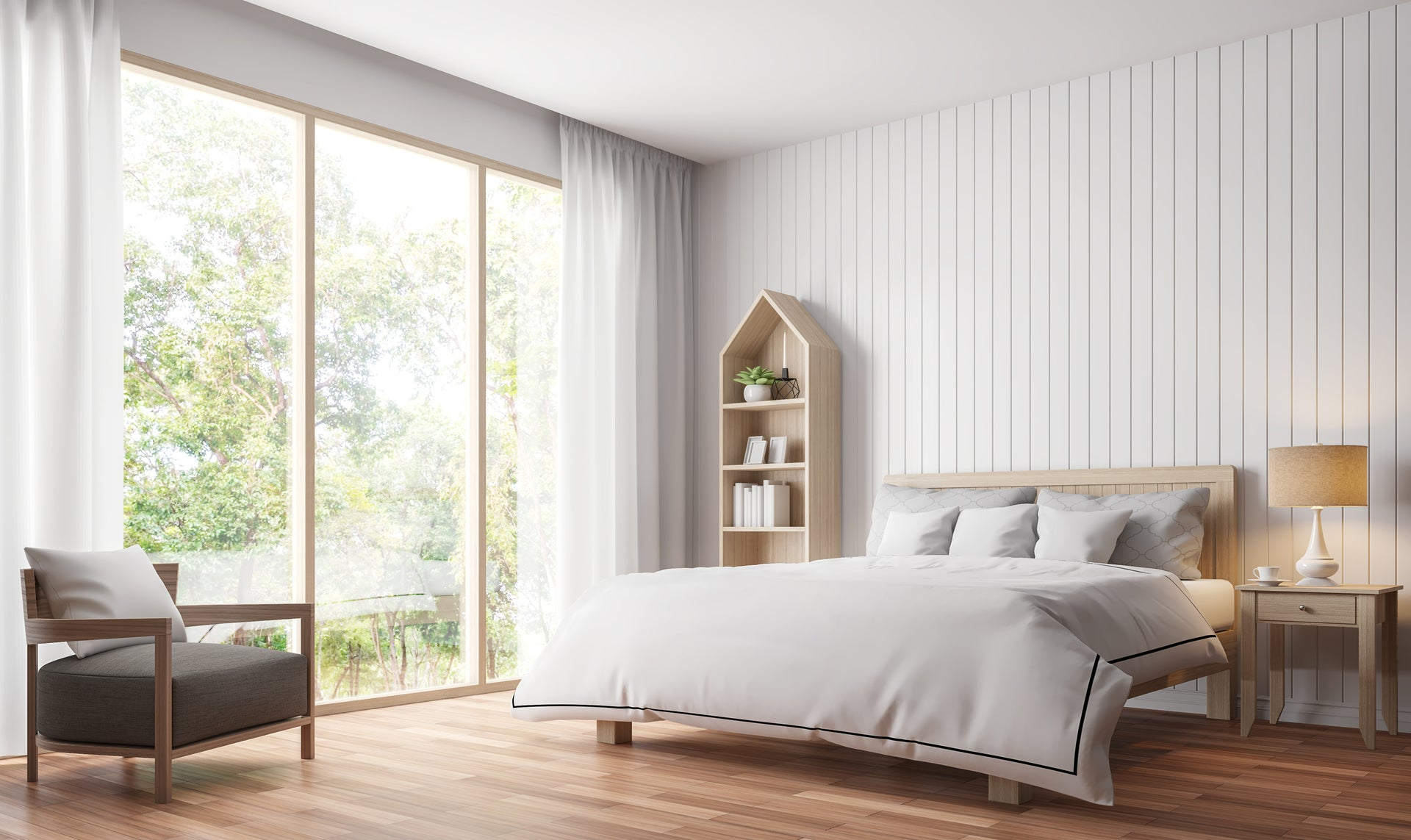 Oakley Solid Hardwood Georgian Beaded Wall Panelling Three Panels In Each Pack