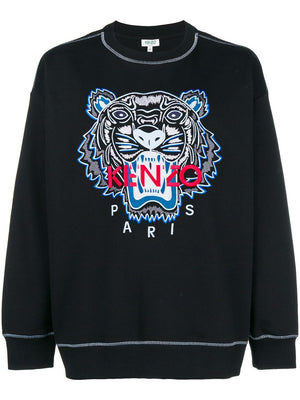 Kenzo new embroider tiger sweat black