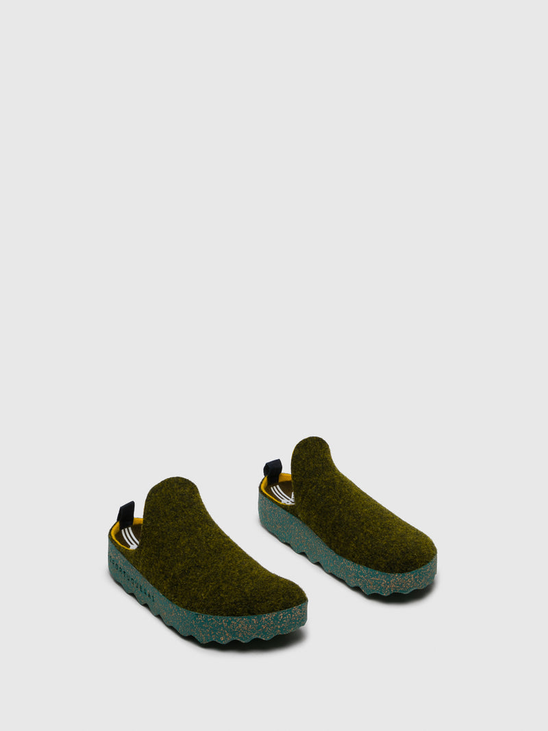Green Round Toe Mules