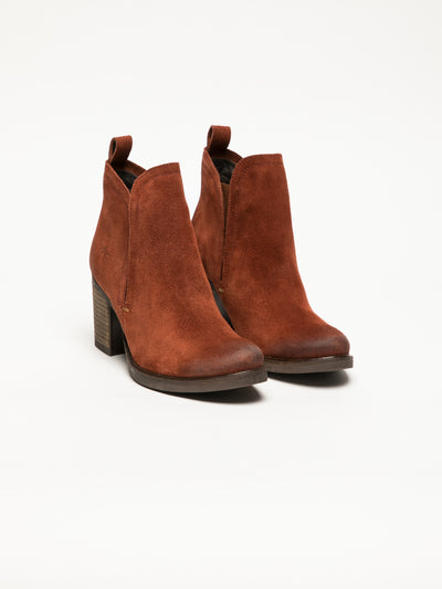 Bos&Co Orange Round Toe Ankle Boots
