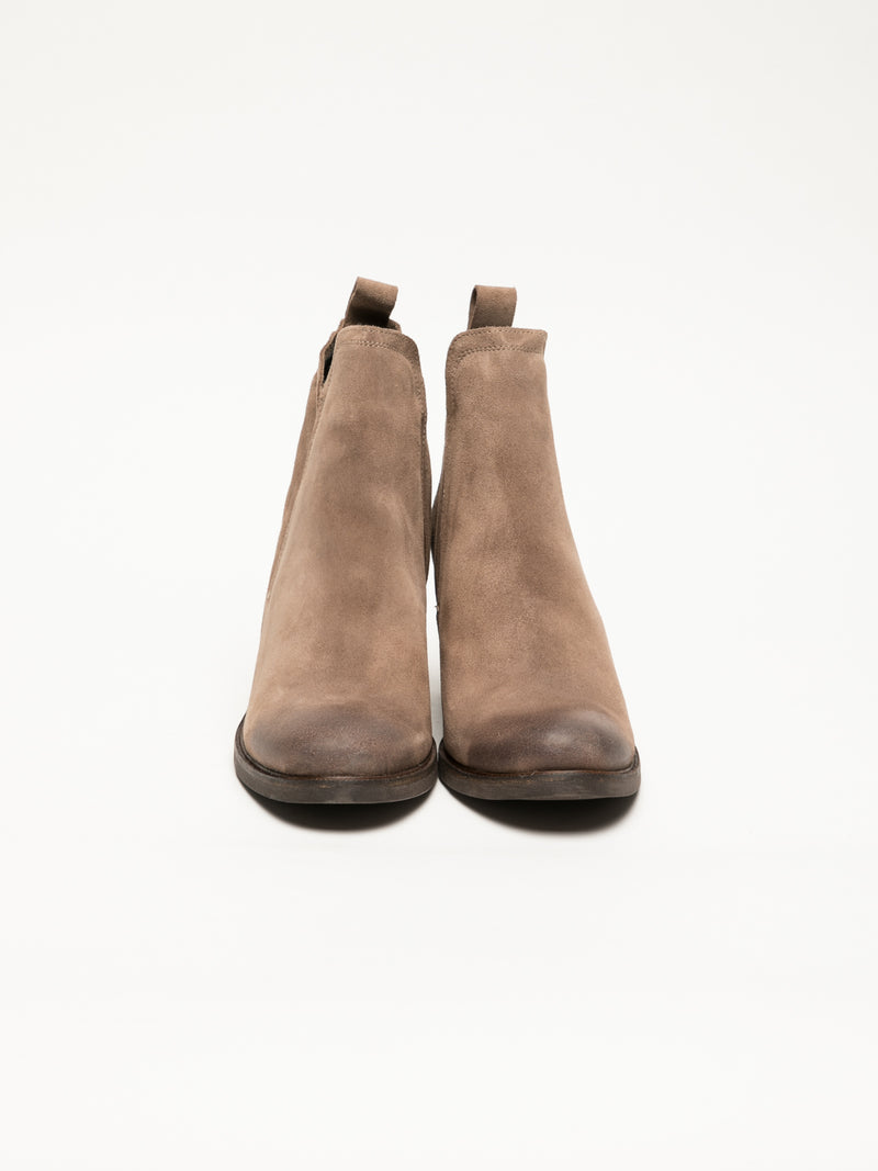 Tan Round Toe Ankle Boots