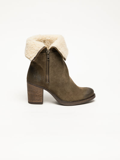 Bos&Co Khaki Zip Up Ankle Boots