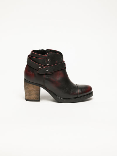 Bos&Co DarkRed Buckle Ankle Boots