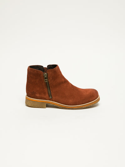 Bos&Co Orange Zip Up Ankle Boots