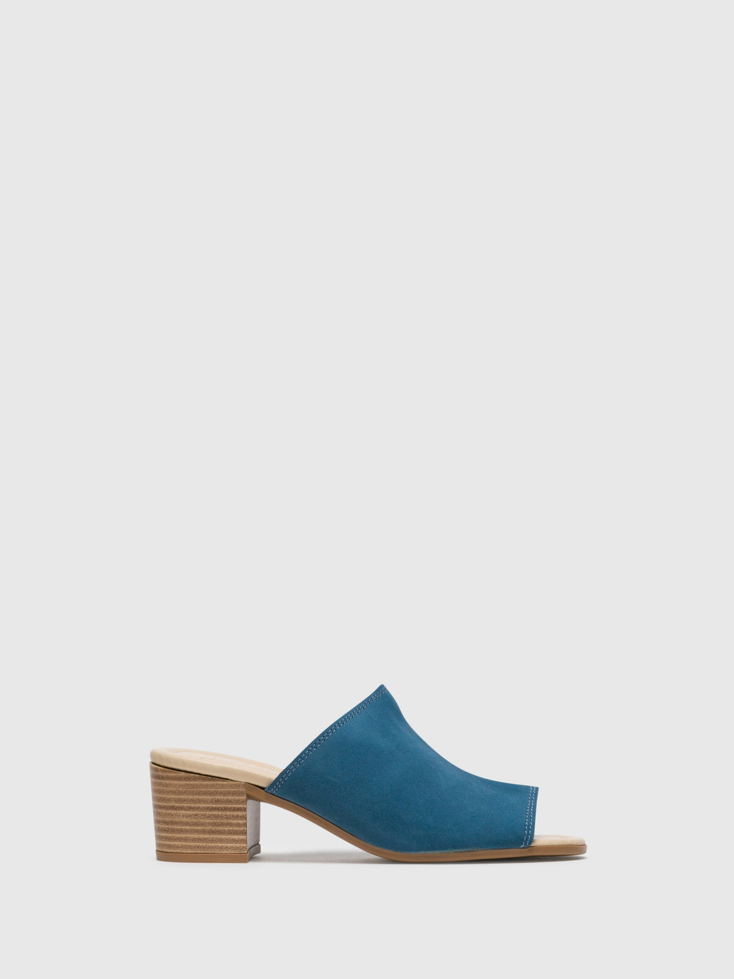 Bos&Co Blue Chunky Heel Mules