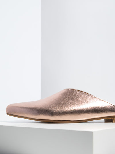 Bos&Co DarkSalmon Pointed Toe Mules