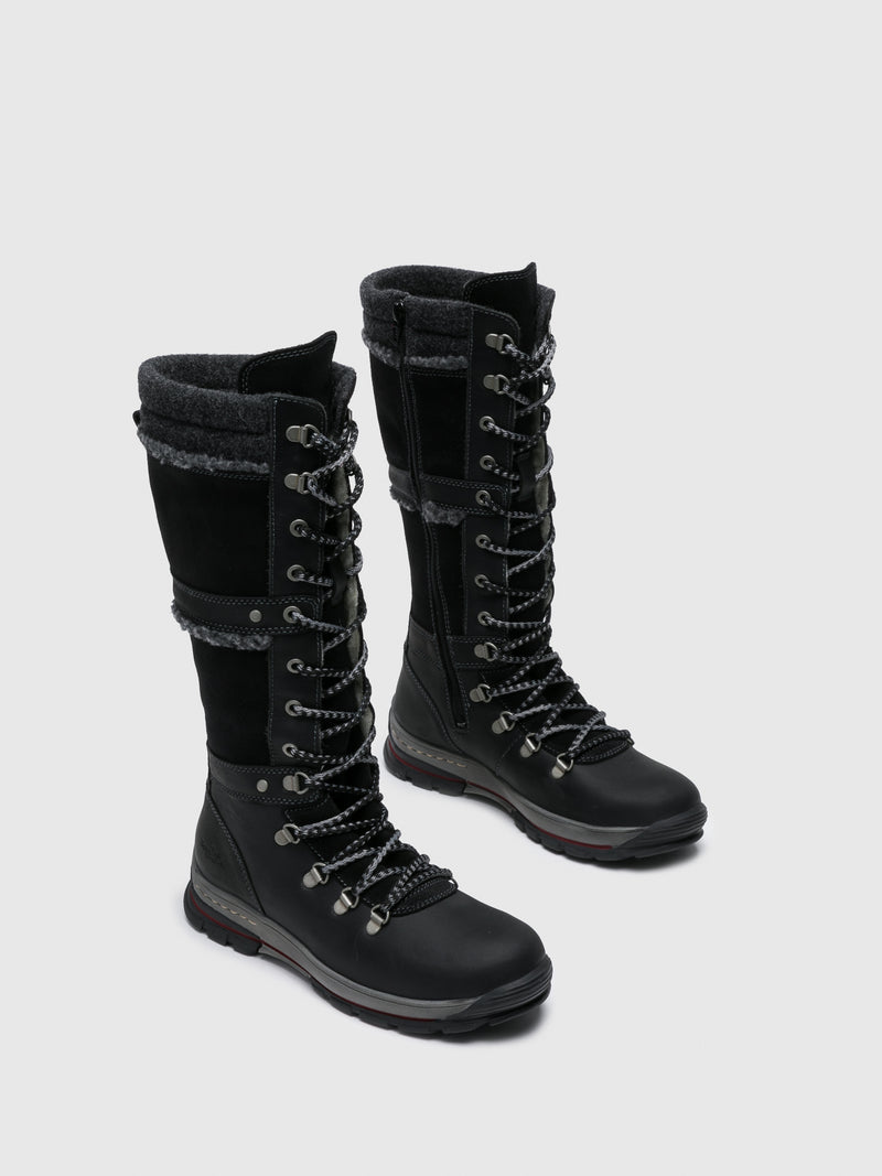 Black Leather Lace-up Boots