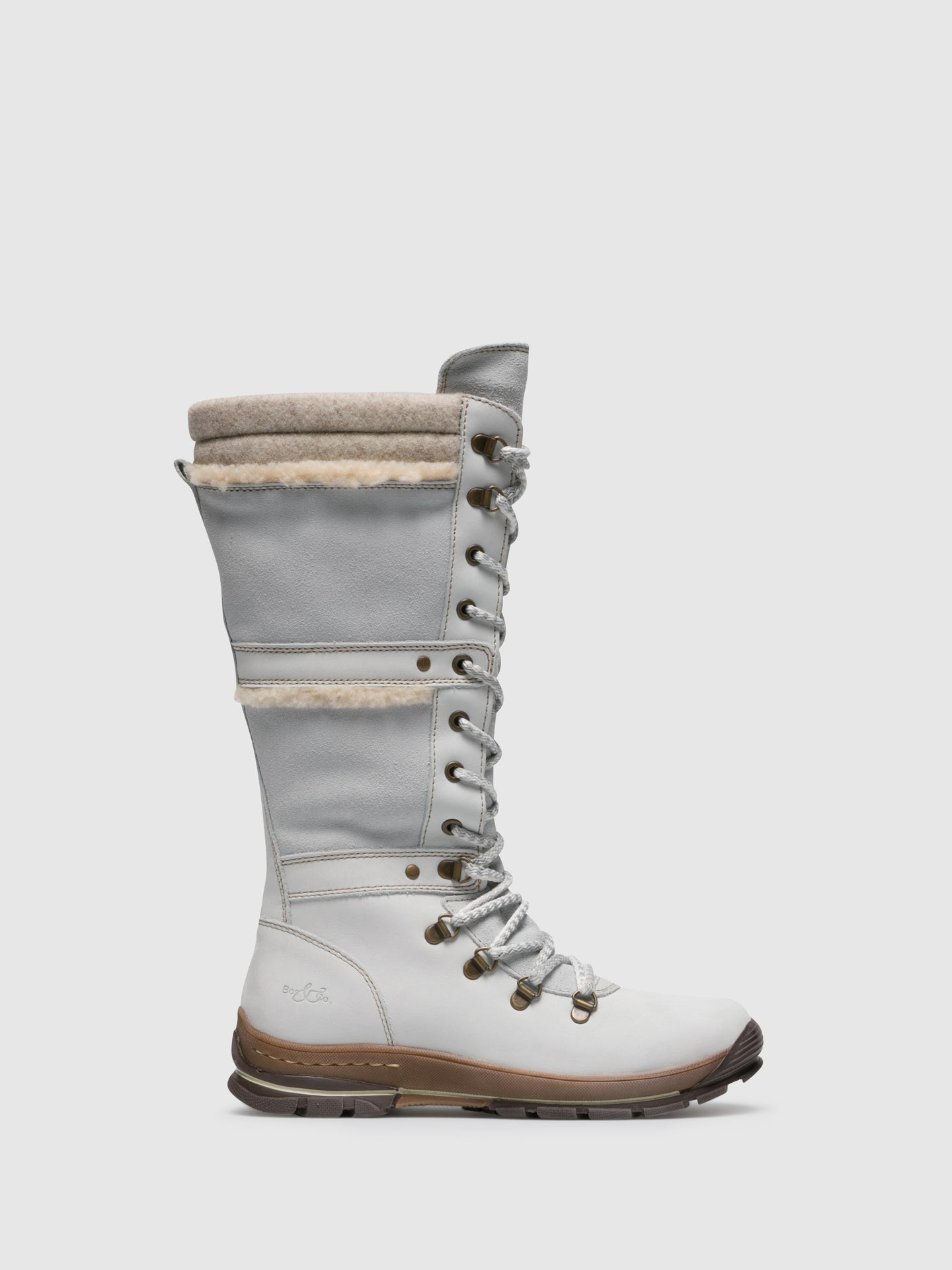 Bos&Co White Leather Lace-up Boots