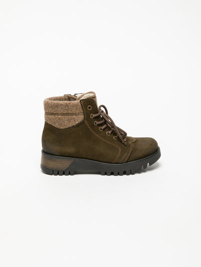 Bos&Co Khaki Lace-up Ankle Boots