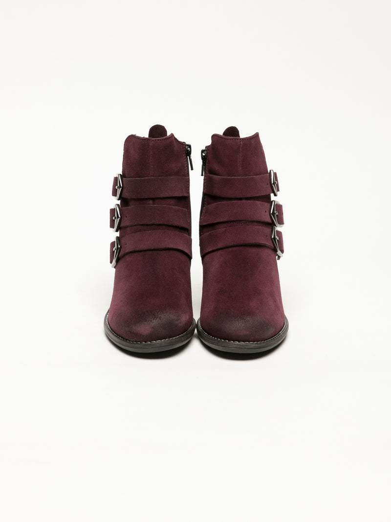 DarkRed Buckle Ankle Boots