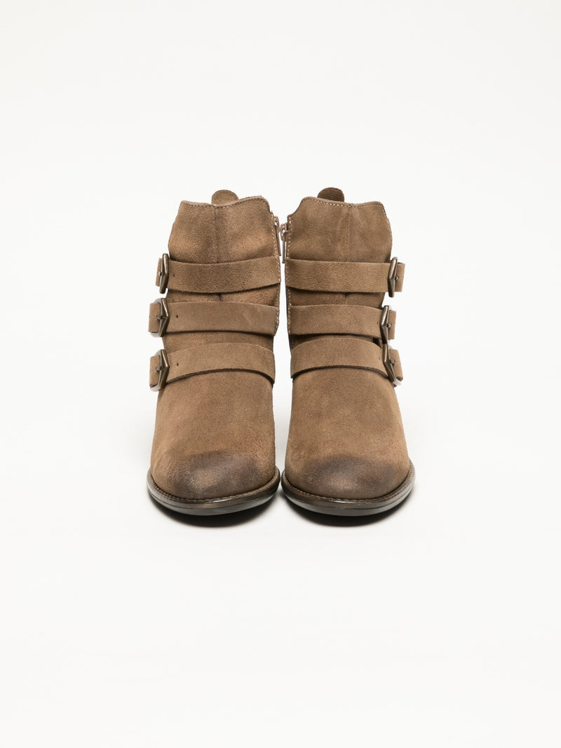 Tan Buckle Ankle Boots