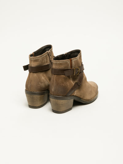 Bos&Co Tan Buckle Ankle Boots