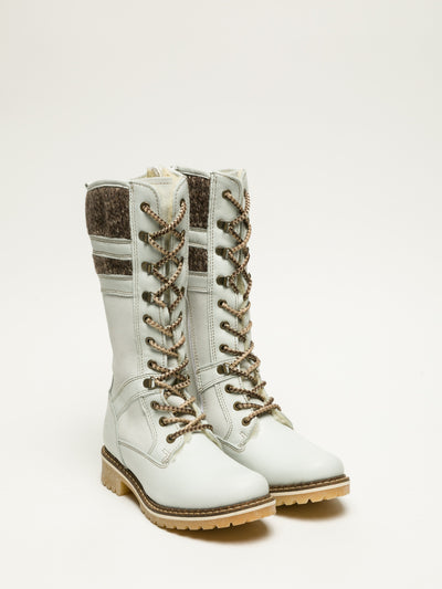Bos&Co White Lace-up Boots