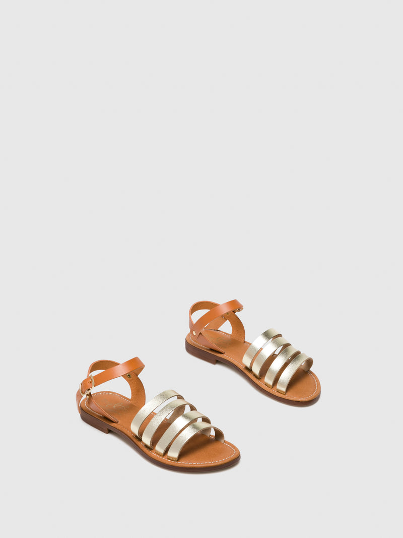 Bos&Co Gold Strappy Sandals