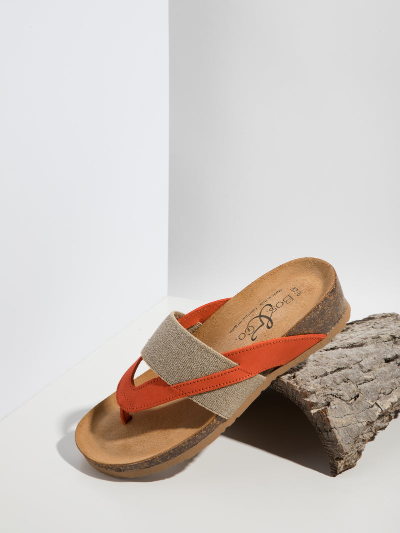 Bos&Co Orange Thong Flip-Flops