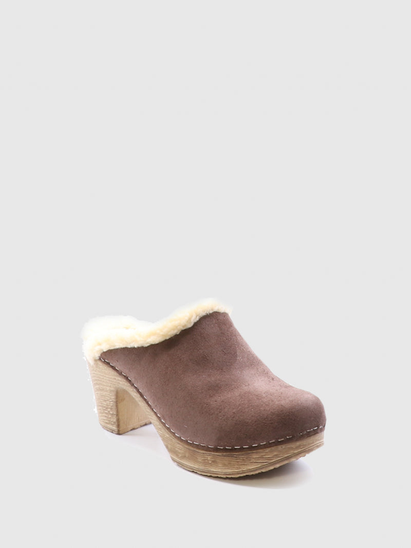 Brown Round Toe Mules