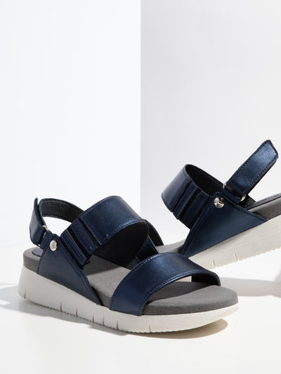 Bos&Co Navy Velcro Sandals
