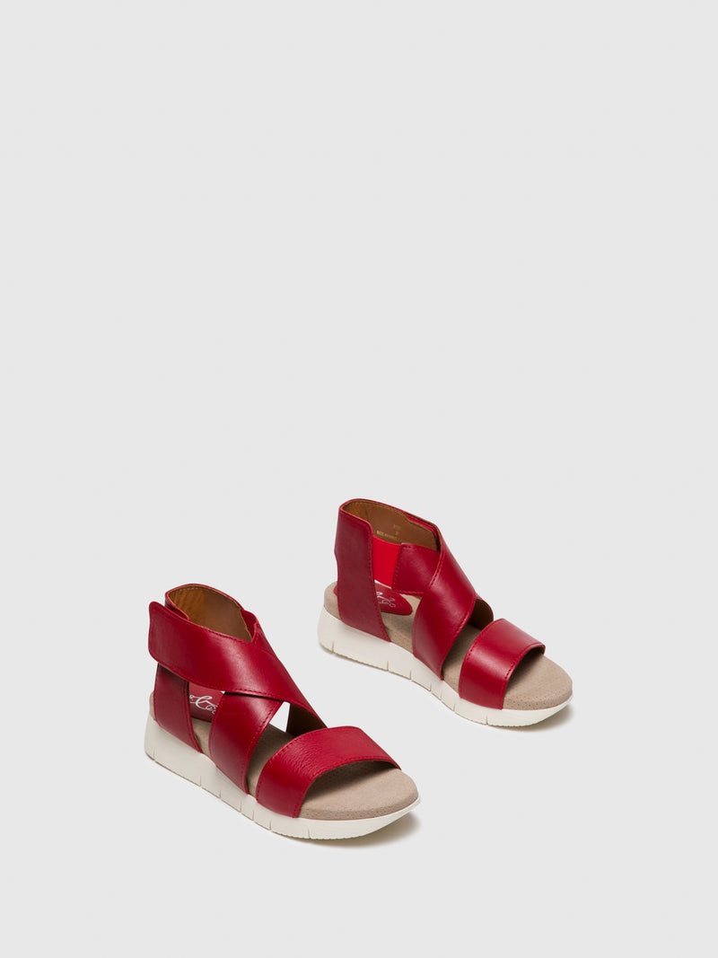 Bos&Co Red Strappy Sandals