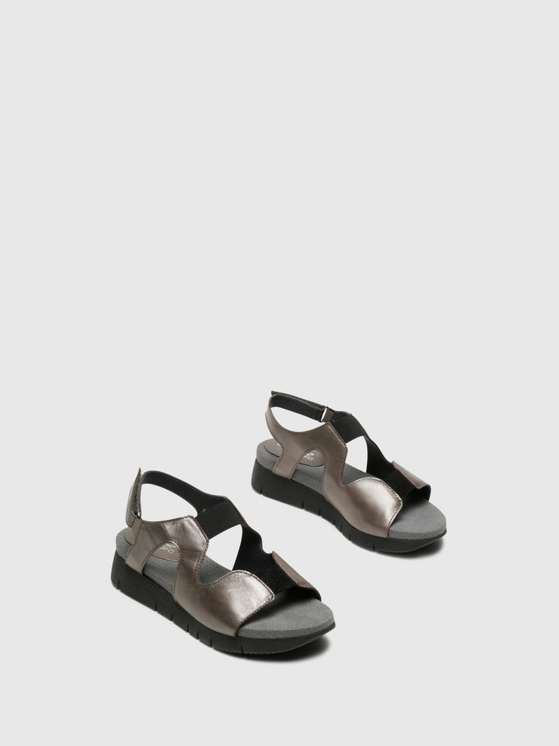 Bos&Co Gray Velcro Sandals